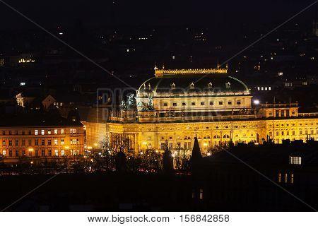 The night View on Prague National Theatre fron Petrin hill. Czech Republic