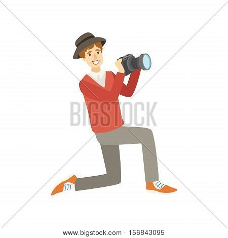 Man Tourist Taking Pictures With Photo Camera Illustration. Colorful Simplified Character Flat Vector Drawing Isolated On White Background.