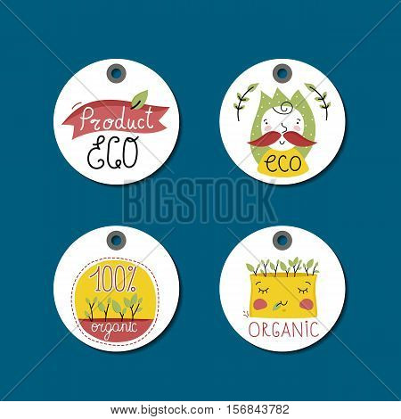 Eco and bio food labels set isolated on blue background. Natural farm products round price tags for organic foods shop, vegan cafe, restaurant, eco bar. Healthy eating concept. Eco friendly products