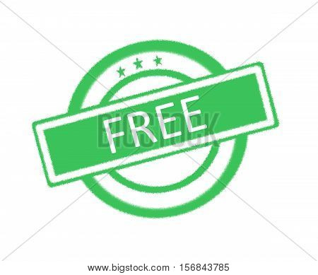 Illustration of free word on green rubber stamp