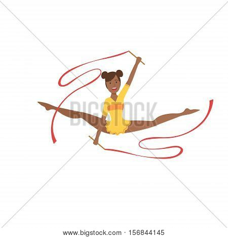 Black Professional Rhythmic Gymnastics Sportswoman In Yellow Leotard Performing An Element With Two Ribbons Apparatus. Female Competition Program Gymnast Performance Cartoon Vector Illustration.