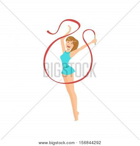Professional Rhythmic Gymnastics Sportswoman With Ponytail Performing An Element With Ribbon Apparatus. Female Competition Program Gymnast Performance Cartoon Vector Illustration.