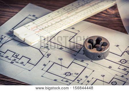 Milling Cutter, Slide Rule And Mechanical Scheme