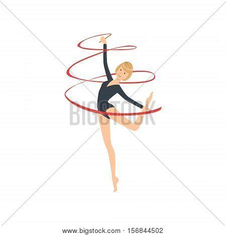 Professional Rhythmic Gymnastics Sportswoman In Black Long Sleeve Leotard Performing An Element With Ribbon Apparatus. Female Competition Program Gymnast Performance Cartoon Vector Illustration.