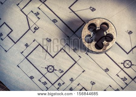 Milling Cutter And Mechanical Parts Of The Diagram