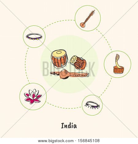 Attractive India. Pundi and tabla drums doodle surrounded cobra in basket, sitar, lotus flower, tambourine hand drawn vector icons. Indian cultural, religious, nature symbols. Travel in Asia concept