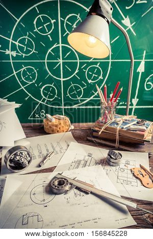 Mechanical Engineer Desk At The University As Education Concept