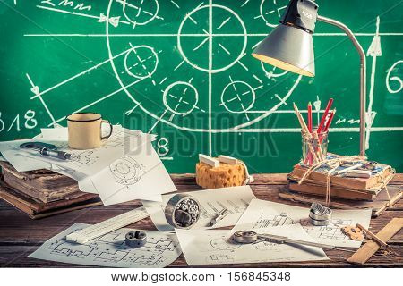 Vintage Mechanical Laboratory In School As Education Concept