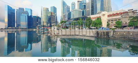 Singapore, Republic of Singapore - May 7, 2016: Marina Bay with Merlion sculpture at sunrise