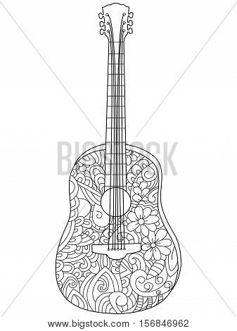 Musical instrument guitar coloring book for adults vector illustration. Anti-stress coloring for adult. Zentangle style. Black and white lines. Lace pattern