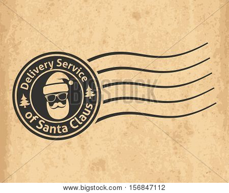 Postal Stamp Of The Delivery Service Of Santa Claus On Old Grungy Paper Background, Vector Illustrat