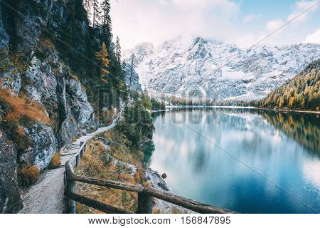Great alpine lake Braies (Pragser Wildsee). Magic and gorgeous scene. Popular tourist attraction. Location place Dolomiti, national park Fanes-Sennes-Braies, South Tyrol, Italy. Europe. Beauty world.