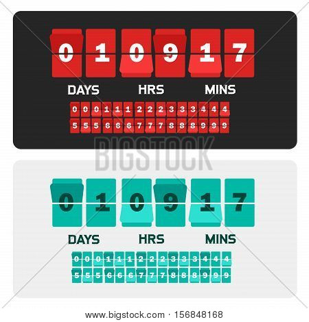 Countdown clock digits board New year and Christmas sale timer. Number counter template banner, all digits with flips included poster