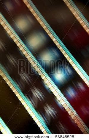 35 mm film with light behind