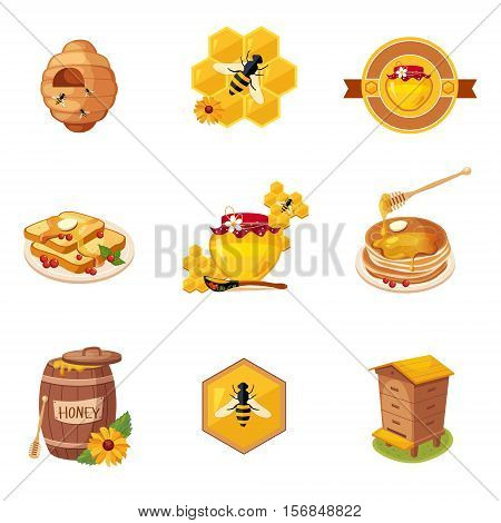 Honey And Related Food And Label Set Of Illustrations. Cute Colorful Honey Related Vector Stickers Isolated On White Background.