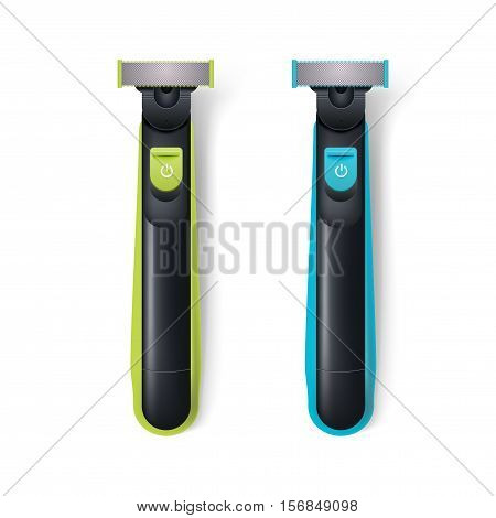Realistic vector beard trimmer isolated on white background. Top view. Modern electric shaver for man