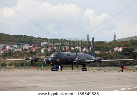 Aircraft  Ilyushin Il-38 On An Exhibition Area
