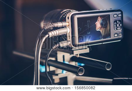 Video Recording Production. Making Music Video Clip. Recording Singing Woman