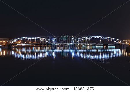 night view of the Neva rive. Saint-Petersbugr.