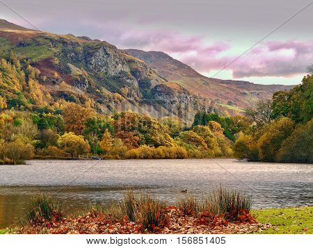 Derwentwater lake  and mountains in Cumbria,UK,in late autumn