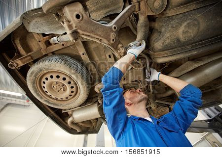 car service, repair, maintenance and people concept - auto mechanic man or smith working at workshop