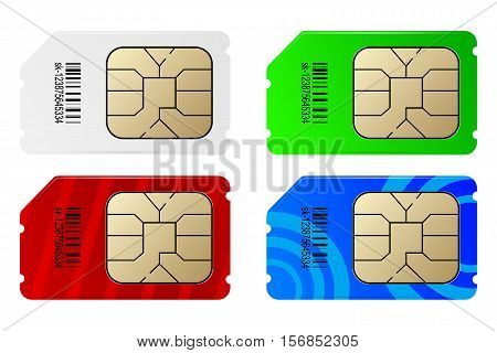 Set of color SIM cards isolated on white background.