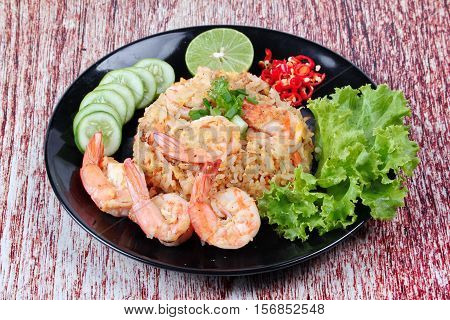 Fried Rice With Shrimp Call Khao Pad Kong In Thai