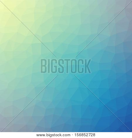 Low Poly Pattern Design. Medium Cells. Vector Polygonal Background Filled With Yellow To Green To Bl