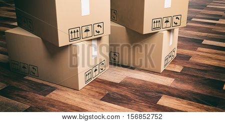 3D Rendering Moving Boxes On Wooden Floor