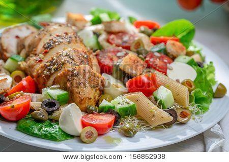 Closeup Of Homemade Caesar Salad With Fresh Vegetables