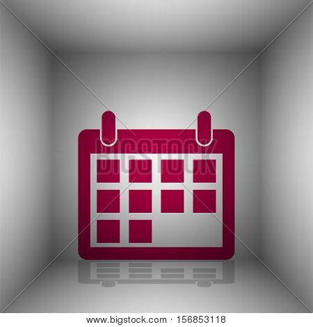 Calendar Sign Illustration. Bordo Icon With Shadow In The Room.