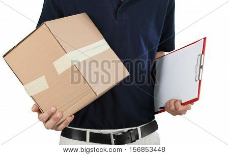 Closeup of a Deliveryman Holding a Box and a Clipboard