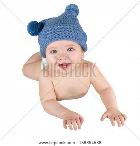 Infant Baby Lying On Tummy Wearing A Jester Hat