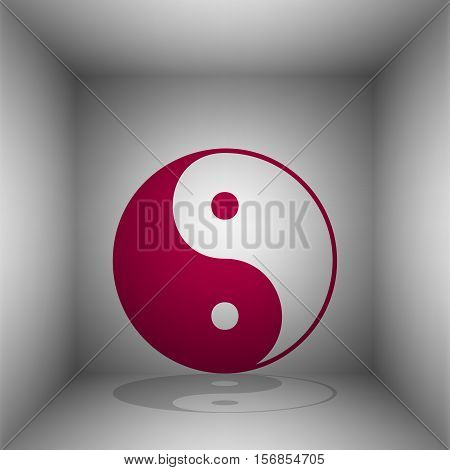 Ying Yang Symbol Of Harmony And Balance. Bordo Icon With Shadow In The Room.