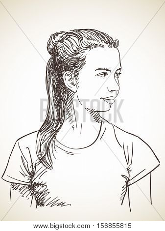 Sketch of beautiful young girl with hair tied in ponytail, Hand drawn illustration
