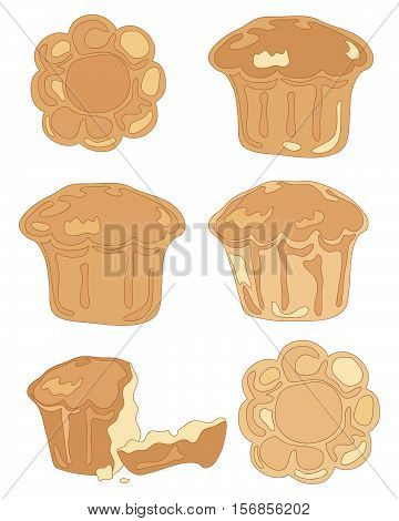 an illustration of different brioche pastries in top and side view and a broken bun on a white background