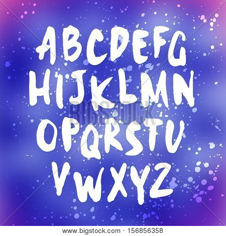 Vector handwritten letters. Sans serif. Uppercase letters. Doodle type and splatter texture. White print on blurred background.