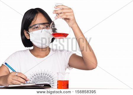 Cute girl doing science experiment science Education asian kids and science experiments