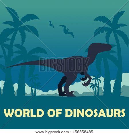 Banner World Of Dinosaurs. Prehistoric World. Velociraptor. Cretaceous Period.