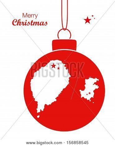Merry Christmas Illustration Theme With Map Of Sao Tome And Principe