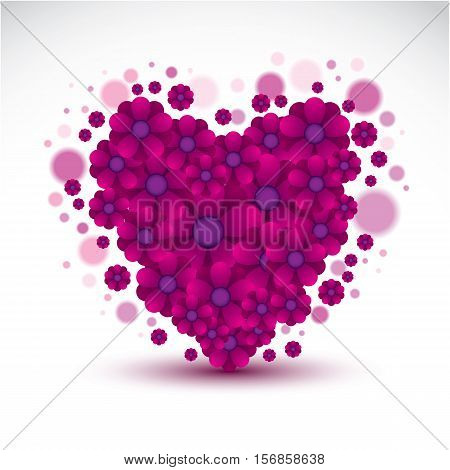Glamorous Romantic Illustration Of Elegant Floral Purple Heart, Vector Graphic Design Element Can Be