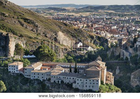 Cuenca (Castilla-La Mancha Spain) the famous casas colgadas Unesco World Heritage SIte and the San Pablo convent