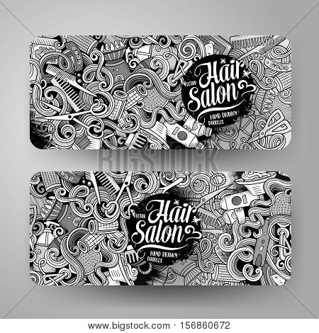 Cartoon cute sketchy vector hand drawn doodles Hair salon corporate identity. 2 horizontal banners design. Templates set