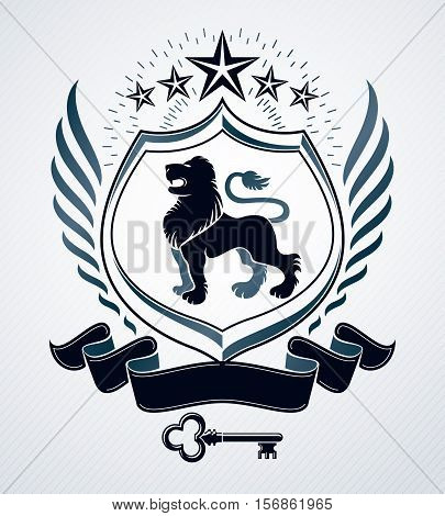 Vector heraldic design vintage emblem created with lion illustration and penrtagonal stars