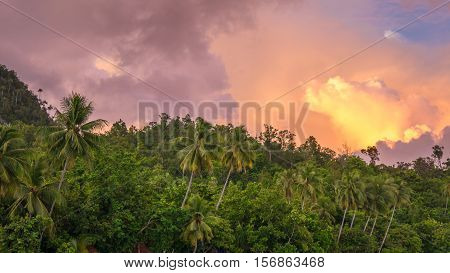 Evening Clouds over Jungle on Sunset on Gam Island, West Papuan, Raja Ampat, Indonesia