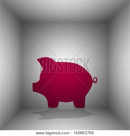Pig Money Bank Sign. Bordo Icon With Shadow In The Room.