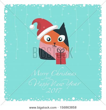 Greeting card. The three-colored cat in Santa hat and red gift box. From the bottom of the postcard the phrase merry christmas and happy new year and numbers: two, zero, one ,seven.