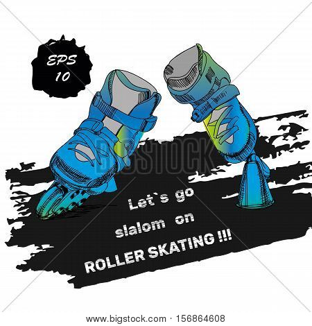 Vector illustration of Roller Skates with text. Isolated object for logo hand drawn, doodle elements. Template Roller Derby. Teenager sport.Let is go slalom on roller skating. Watercolor effect