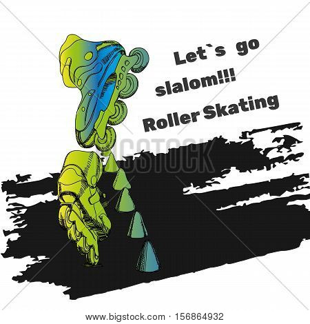 Vector illustration of Roller Skates. Isolated object for logo hand drawn, doodle elements. Template Roller Derby. Teenager sport. Watercolor effect