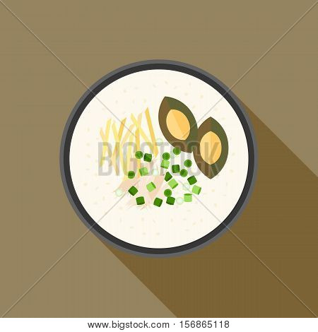 Chinese porridge rice, Hong kong Congee with chicken and preserved egg  in bowl, asian cuisine, flat design vector